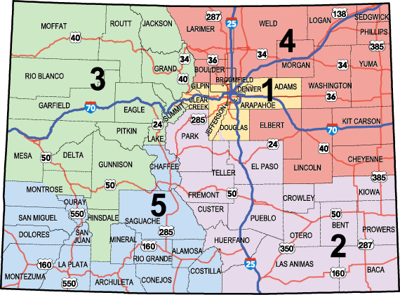 CDOT Regional Boundaries Map