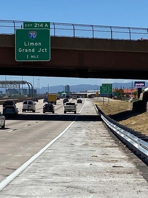Completed auxilliary lane at I-25 and 58th
