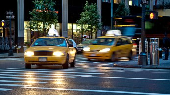 Taxis driving