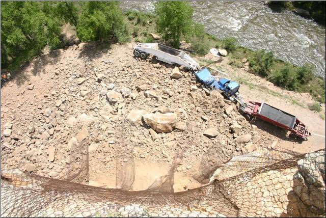 Looking down from the top of a rockfall event.  No one was seriously injured.