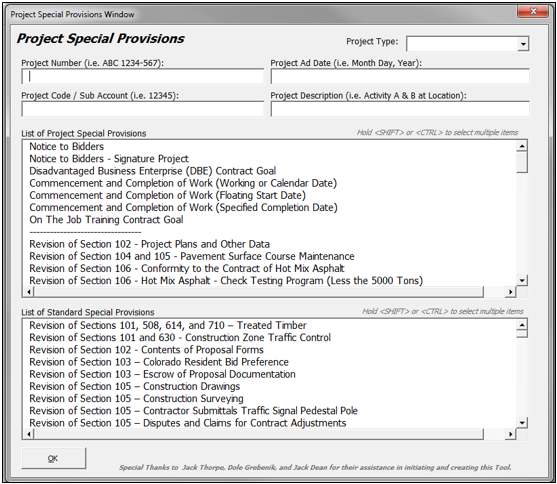 Project Special Provisions Entry Form
