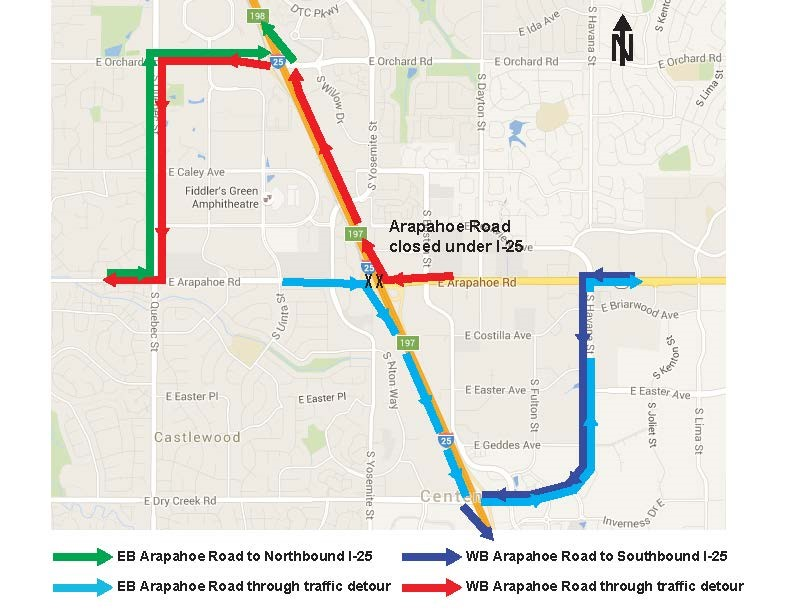 Arapahoe and I 25 Traffic Detour