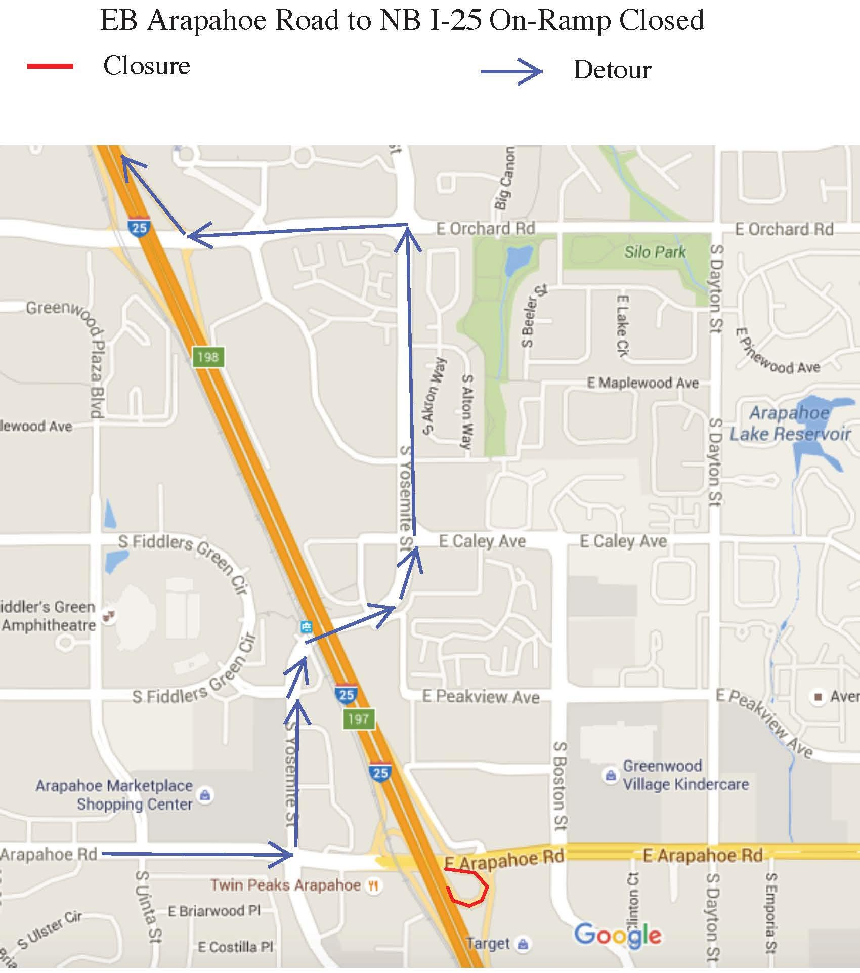 Eastbound Arapahoe to Northbound I 25 Closure