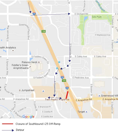 I-25 and Arapahoe Road Traffic Shift April 12
