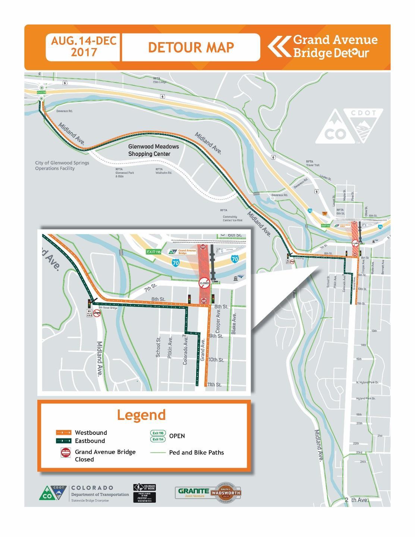 Glenwood Springs Detour Map