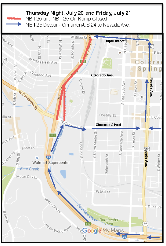 I-25 Northbound Closure: July 20 2017