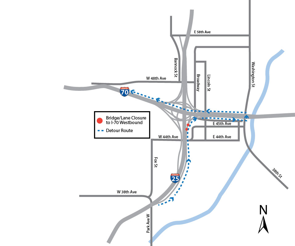 Crews To Close Northbound I-25 To I-70 West And Southbound