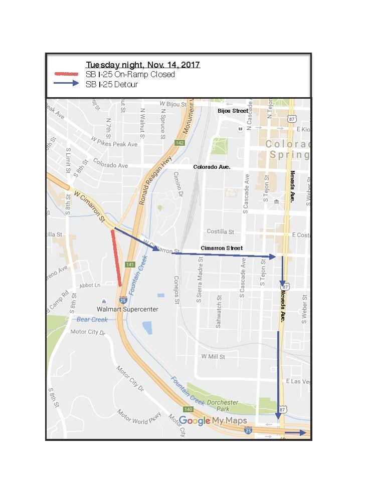 I-25 SB On-Ramp closure 111417