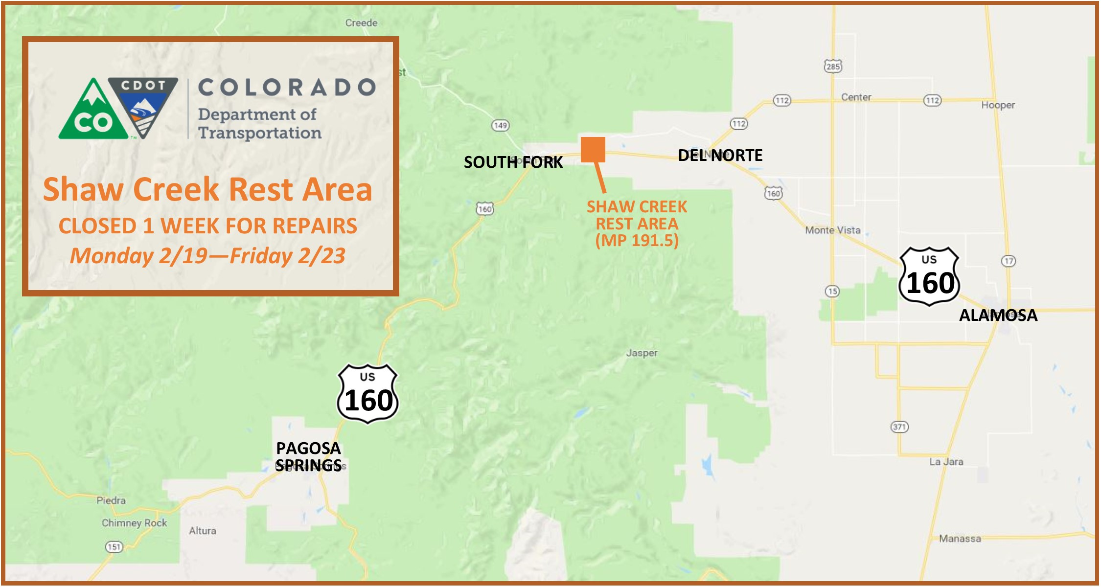 US 160 Shaw Creek Rest Area.01 detail image