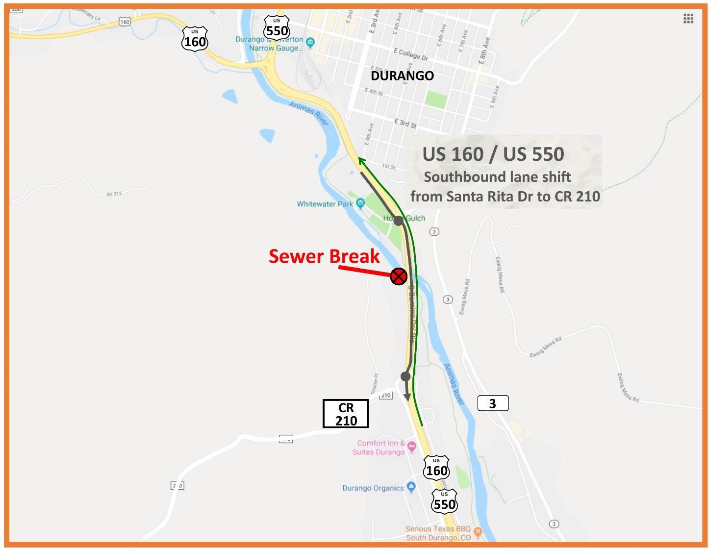 US 550 Sewage Break Map