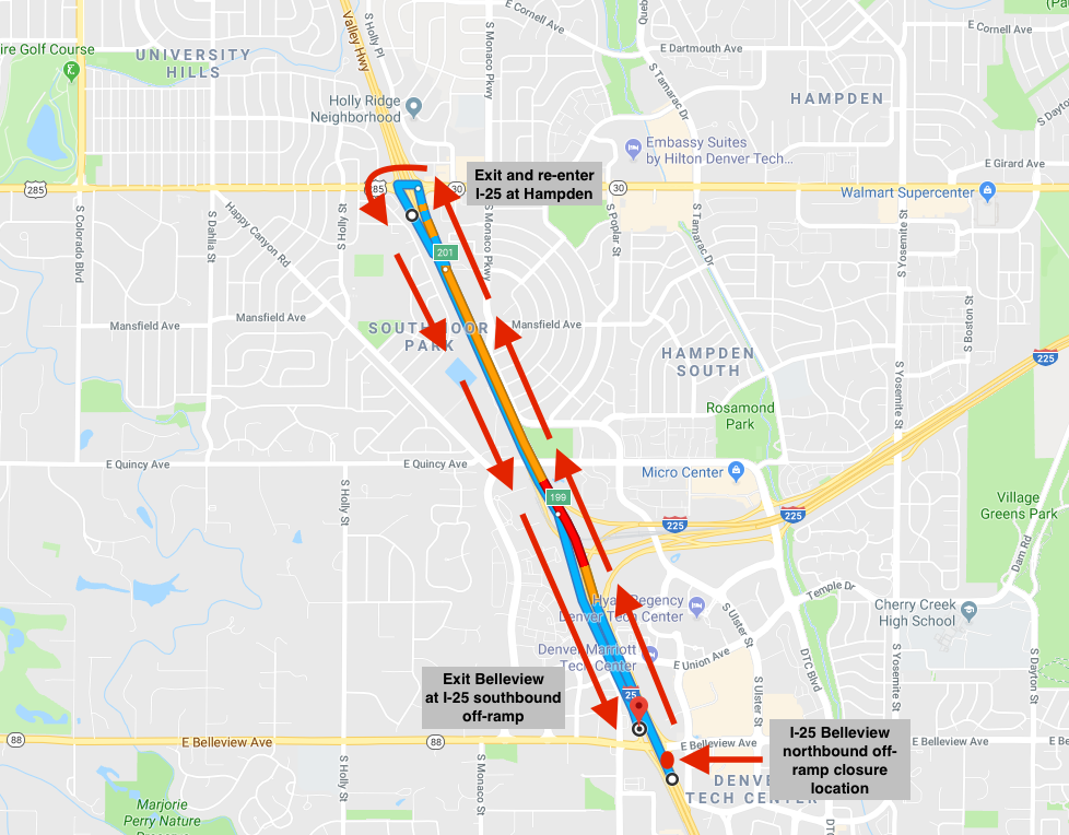 I-25 southbound Belleview exit detour