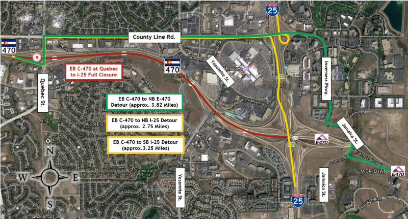 Map: Eastbound C-470 at Quebec to I-25 closure