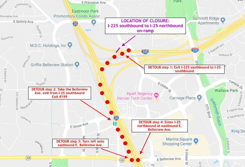 Sunday night ramp closure from southbound I-225 to northbound I-25.png
