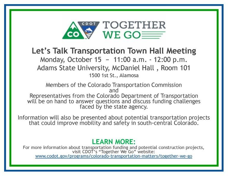 Alamosa Town Hall Meeting flier