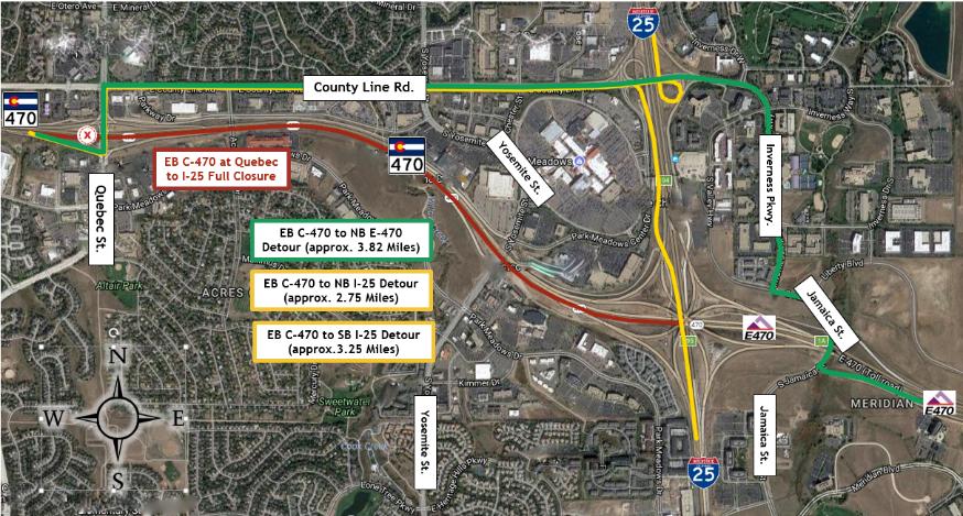 C-470 detour map