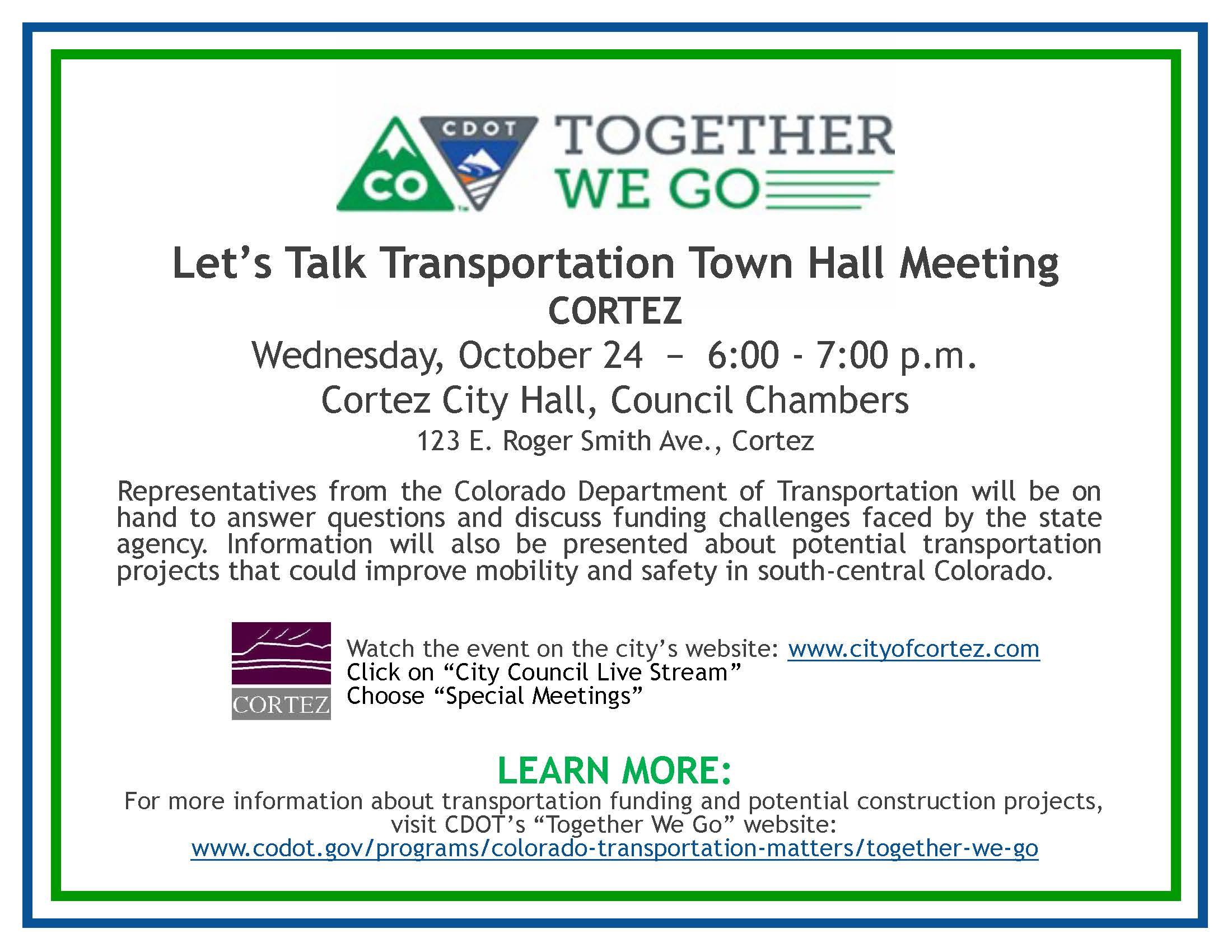 Cortez Town Hall Flier
