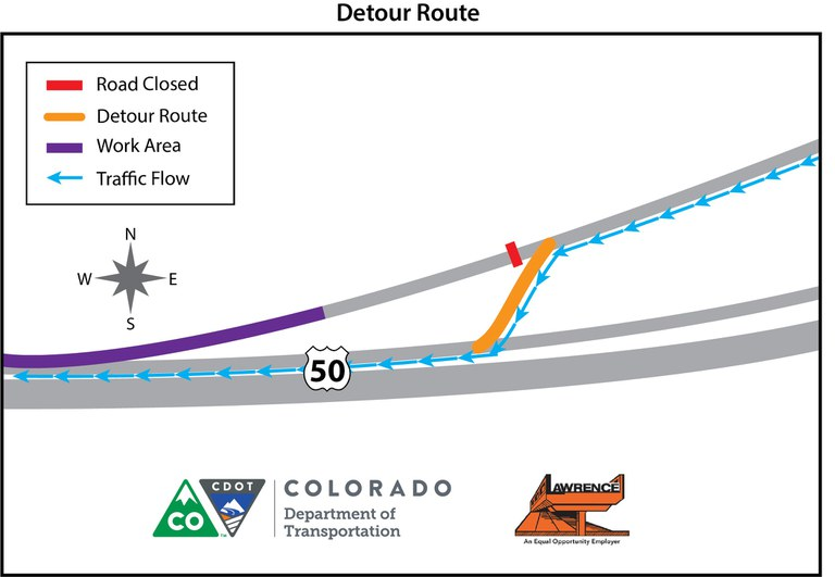 Detour map for US 50 On-Ramp
