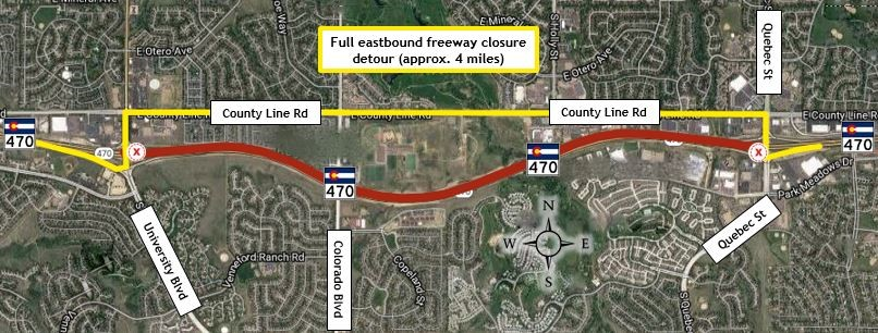 Eastbound C-470 Closure Quebec to University