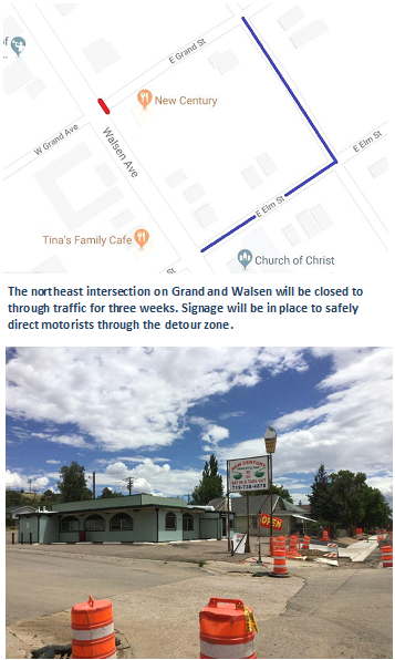 Walsenburg Grand Street Closure Map
