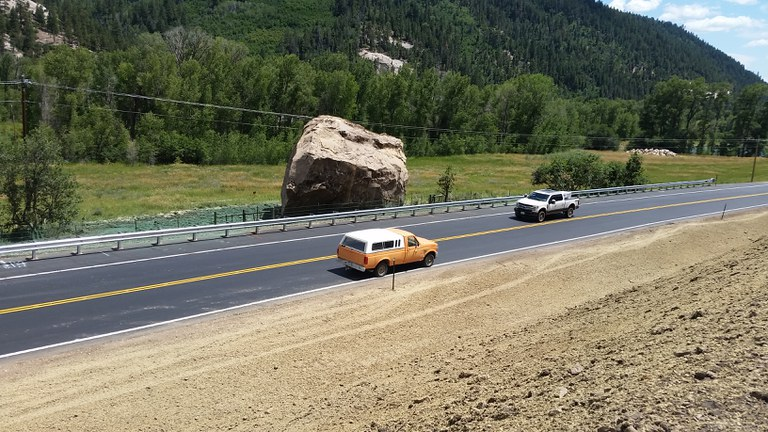 CDOT PHOTO: A section of CO Highway 145 between Dolores and Rico has been rebuilt. The roadway was destroyed after two massive boulders plowed down the adjacent mountain side from a ridgeline 1000 feet above the highway.