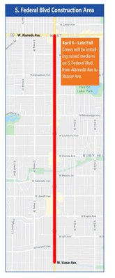 South Federal Boulevard Raised Median Safety Project Map