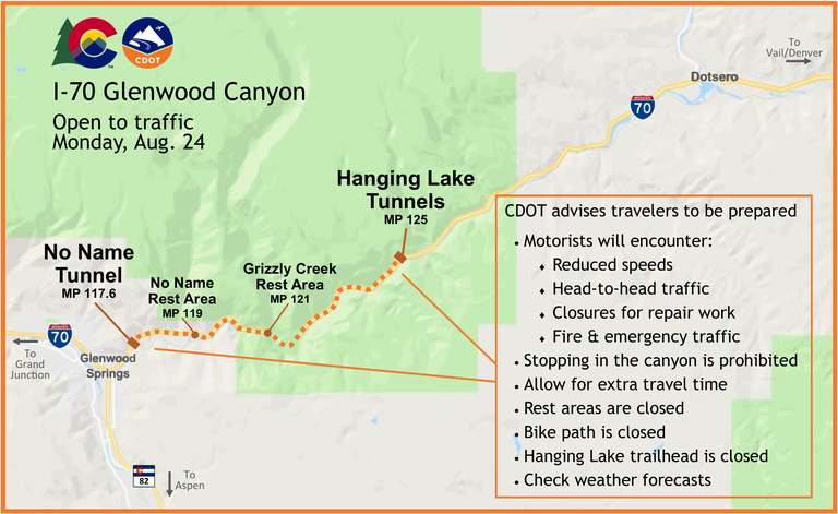 I-70 Glenwood Canyon Fire Map