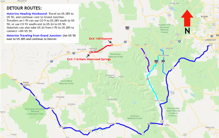 Detour I-70 Southern Route August 11