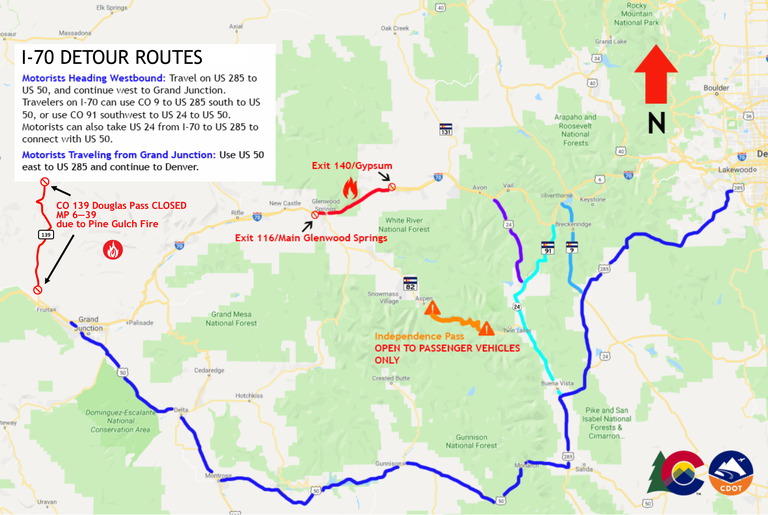 Grizzly Creek Fire Detour Routes