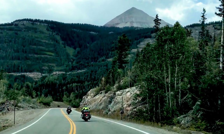US 550 Coalbank Pass Motorcycles on Roadway