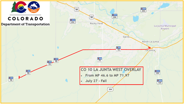 CO 10 La Junta West Overlay project map, mp 46.6-71.97, July 27 - Fall, 2020
