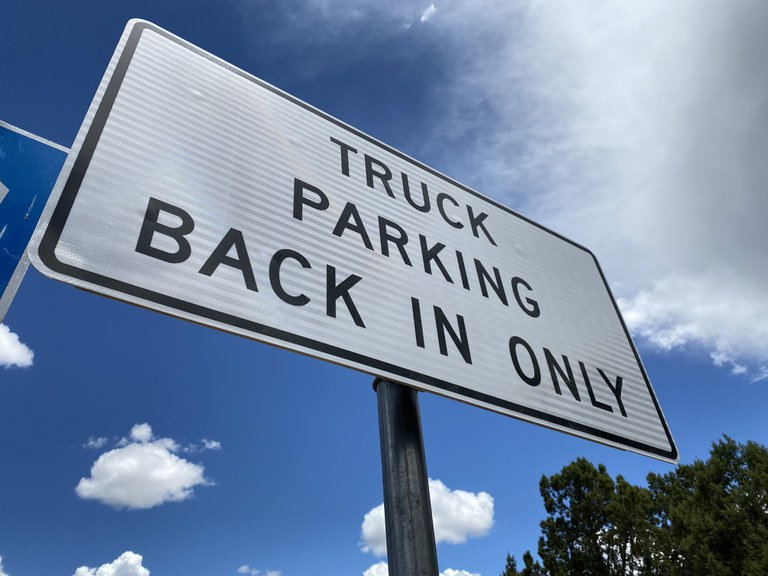 US 160 Rest Area Sign: Truck Parking, Back in Only