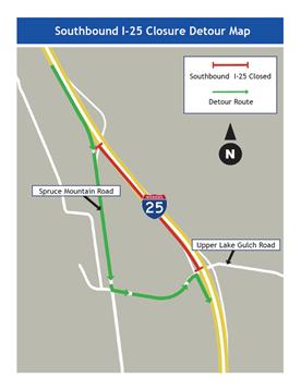 I-25 SB Closure Map