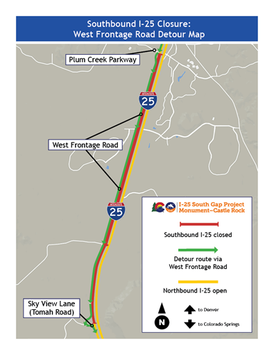 SB I-25 closure on I-25 S. Gap project, SB closed, detour route via W. FR, NB I-25 open