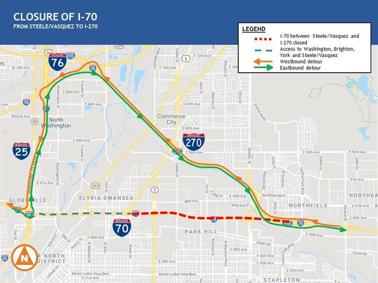 I-70 Steele/Vasquez Closure Map