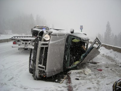 Car accident on Vail Pass during winter