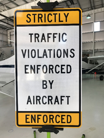 South Gap sign - Traffic Violations enforced by aircraft
