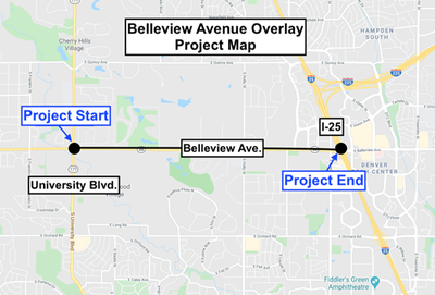 Belleview at I-25 Overlay Project Map