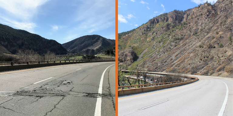 I-70 Glenwood Canyon Before and After