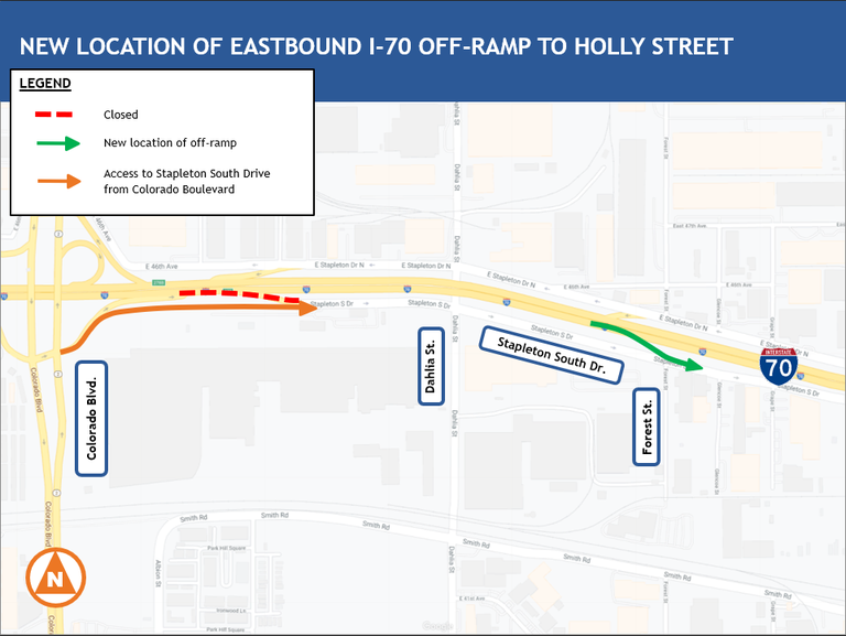 I-70 Closure at Holly Map