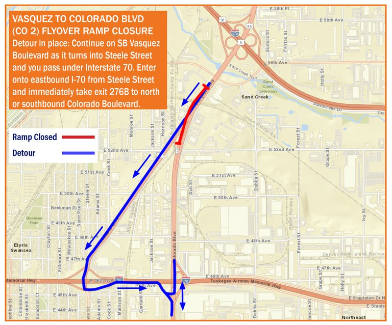 CO 2 Flyover Ramp Closure Map