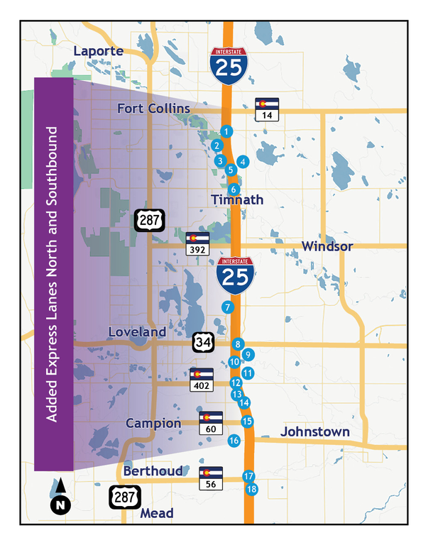 North Express Lanes Project Map