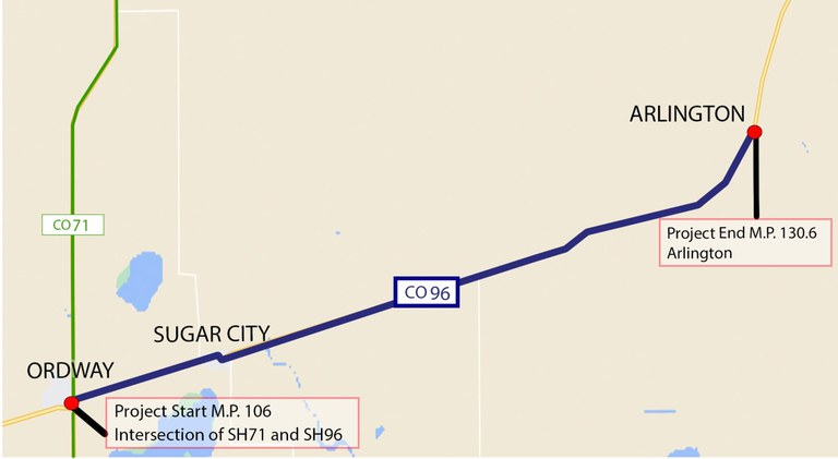 CO 96 Ordway to Arlington Project Map