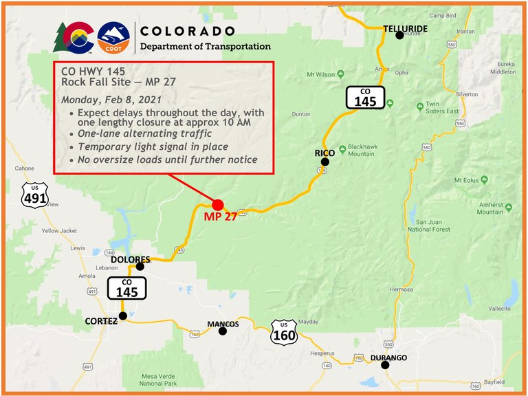 CO 145 north of Dolores map