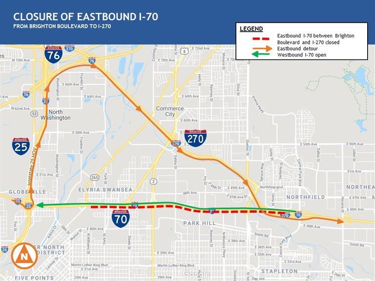 Central 70 Detour Map