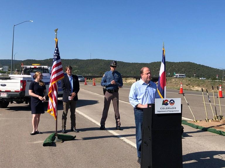 Governor Polis speaking at groundbreaking ceremony