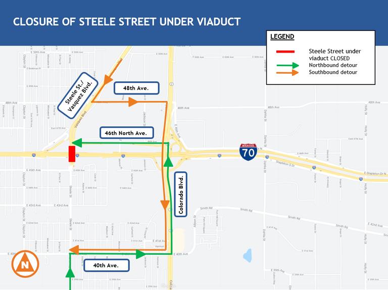 Steele Street Closure Map
