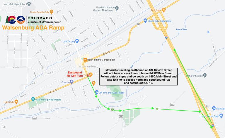Walsenburg ADA Ramp Project Map