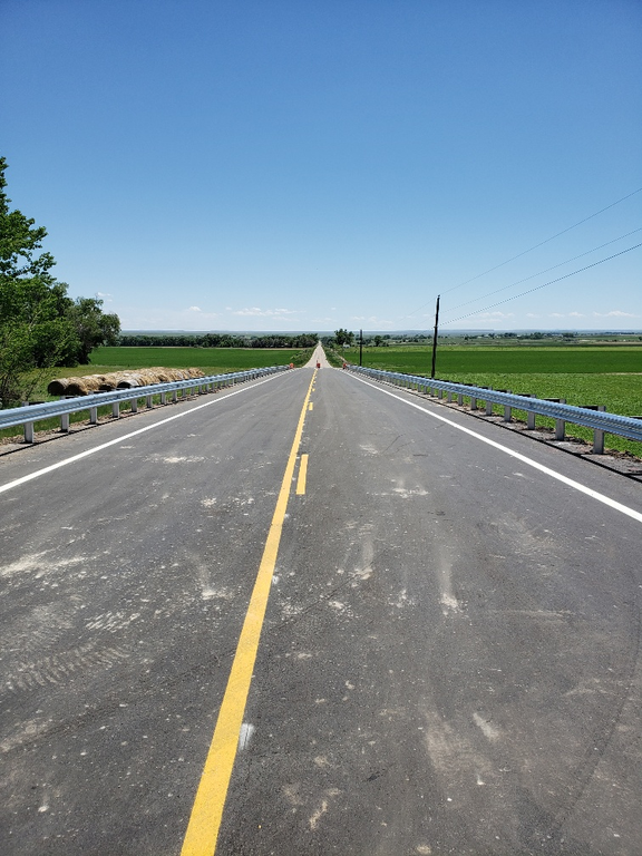 Roadway with yellow striping
