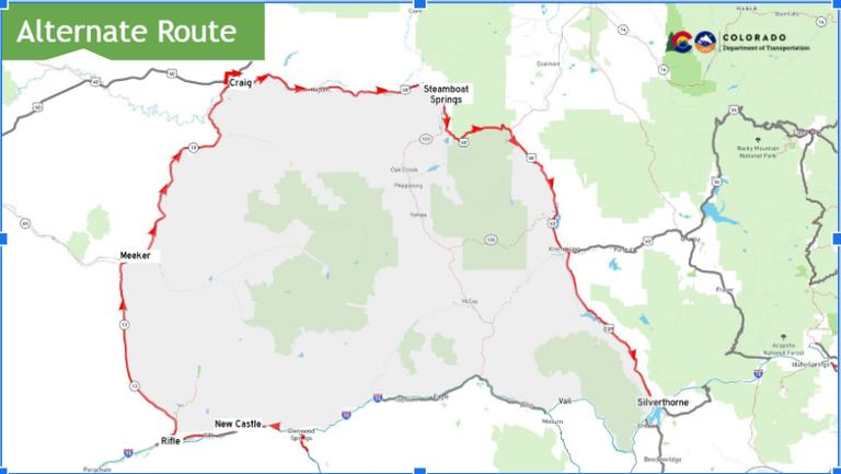 I-70 Mudslide Detour Map
