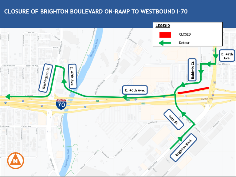 Closure map of Brighton Blvd. on-ramp to westbound I-70